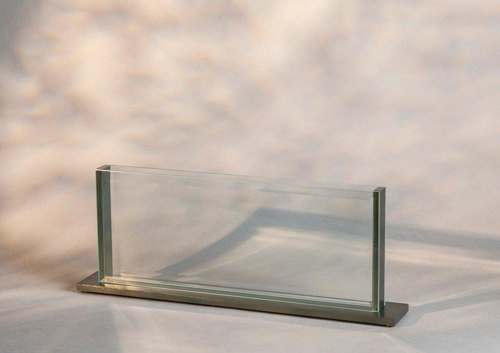 modern see-through glass aluminum vase for home or office decor