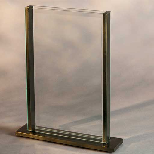 modern see-through glass aluminum vase for home or office decor